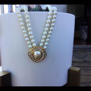 Vintage Trifari Pearl Pendant Rhinestone Diamond